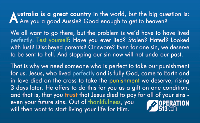 Good Aussie Gospel Tract Back