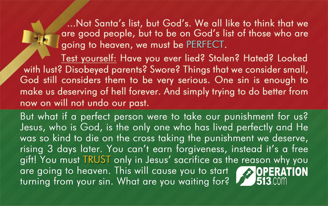 Merry Christmas Gospel Tract - Back