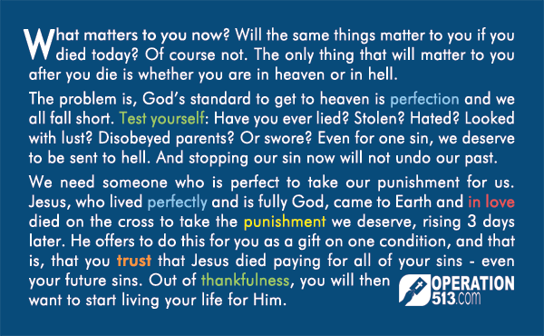 Matter in 150 Years Time Gospel Tract - back