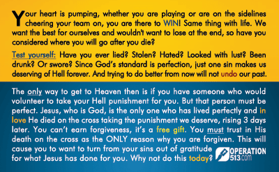 Sports Gospel Tract - back
