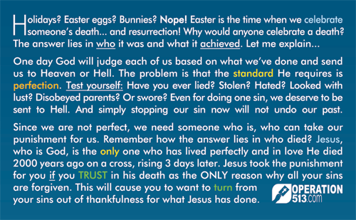 Easter Gospel Tract - back