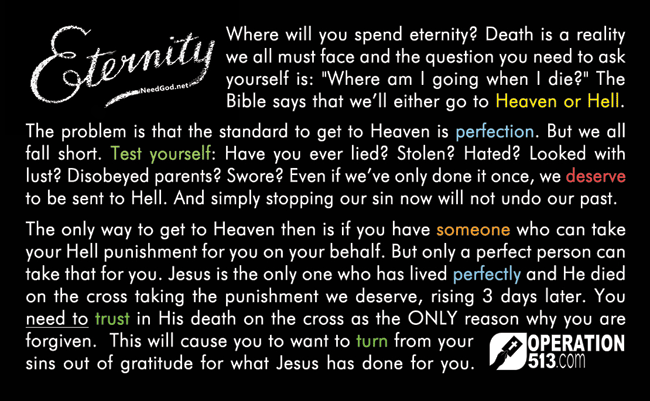 Eternity Card Gospel Tract Front