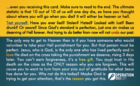 Everything Happens for a Reason Gospel Tract - back