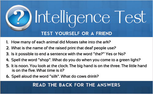 Intelligence Test Gospel Tract Front