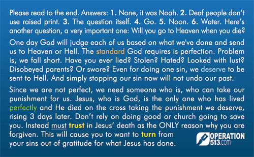 Intelligence Test Gospel Tract - back