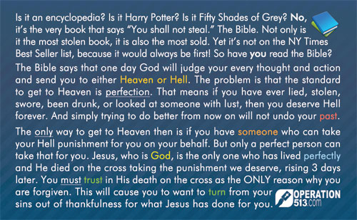 Most Stolen Book Gospel Tract - back