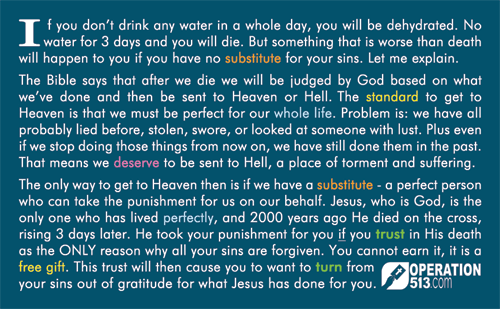 Water Card - Gospel Tract