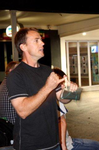 Nick open air preaching in Brisbane City