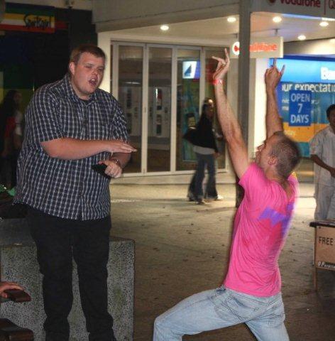 Josh Williamson open air preaching in the Brisbane CBD