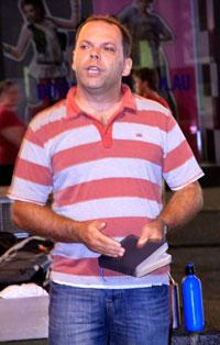 Kevin preaching open air