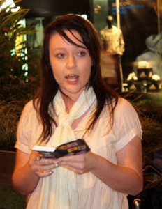 Amy Barnard reading the Bible publicly