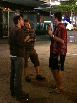 Alex (the agnostic) chatting to Blake and Luke