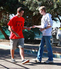 Tim handing out tracts