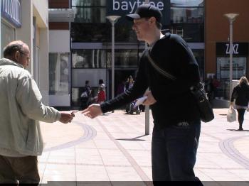 Andrew handing out tracts