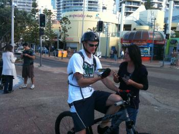 Glenda witnessing to man on bike