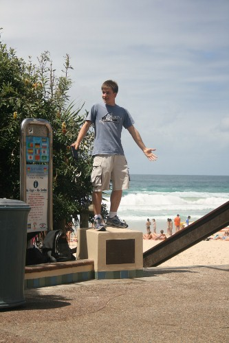 Ryan Hemelaar preaching open air at the Gold Coast