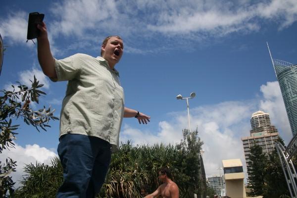 Josh Williamson preaching at the Gold Coast