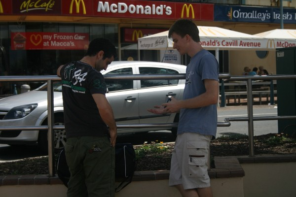 Ryan witnessing one2one with a person at the Gold Coast