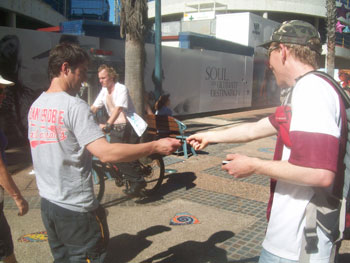 Dave handing out gospel tracts