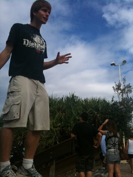 Ryan preaching open air