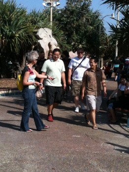 Chris handing out tracts