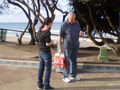 Bekk handing out tracts