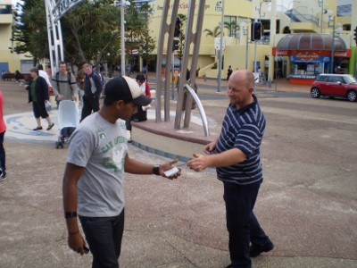 Snowy handing out tracts
