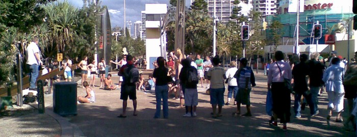 Josh Williamson street preaching at the Gold Coast