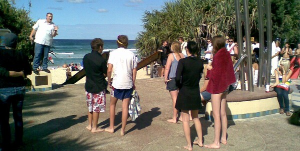 Josh Williamson doing open air preaching at the Gold Coast