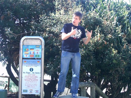 Ryan Hemelaar open air preaching at Surfers Paradise