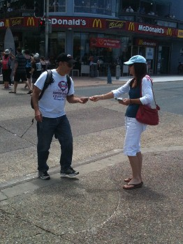 Glenda handing out tracts
