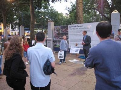 Matt preaching open-air in Leicester Square