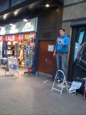 Steve preaching the gospel open-air