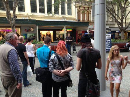 Gospel preaching Queen Street Mall