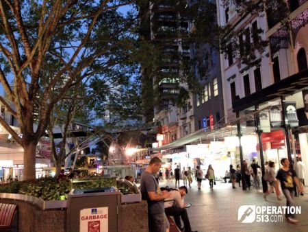 Queen Street Mall at night