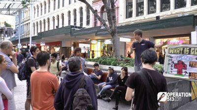 Open air preaching in Brisbane city