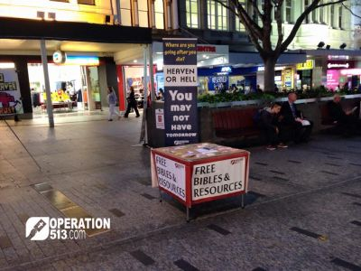 Free Bibles table in Brisbane city