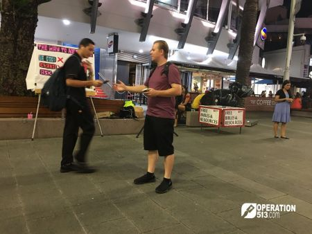 Handing out Gospel tracts