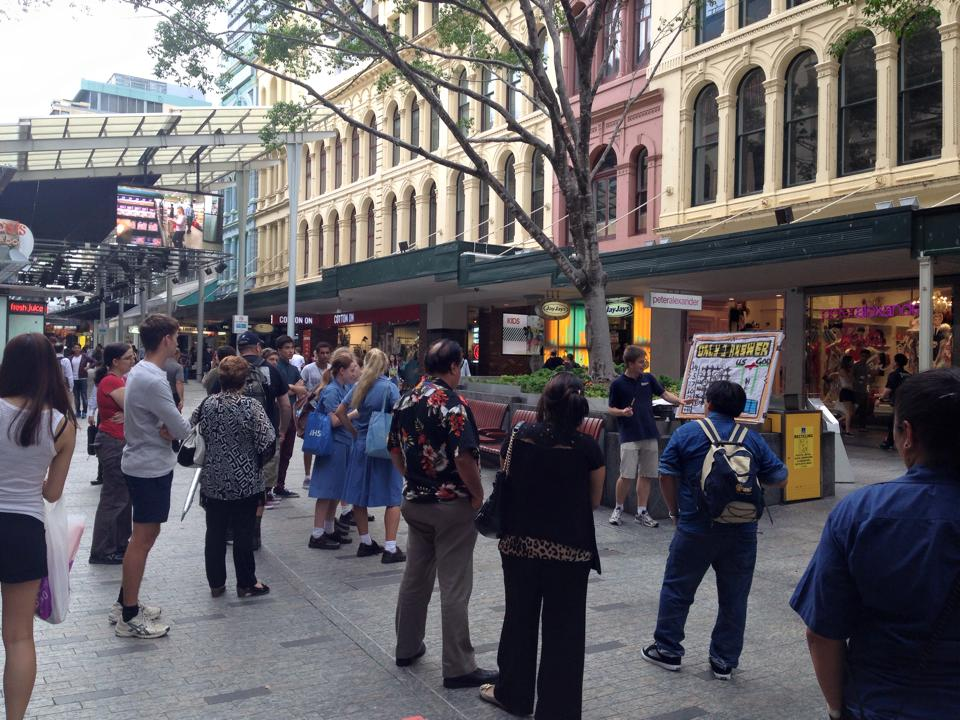 Open air preaching in Brisbane city