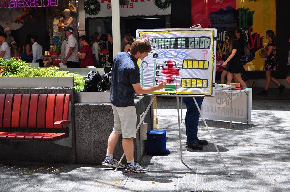 Sketchboard Evangelism in Brisbane city