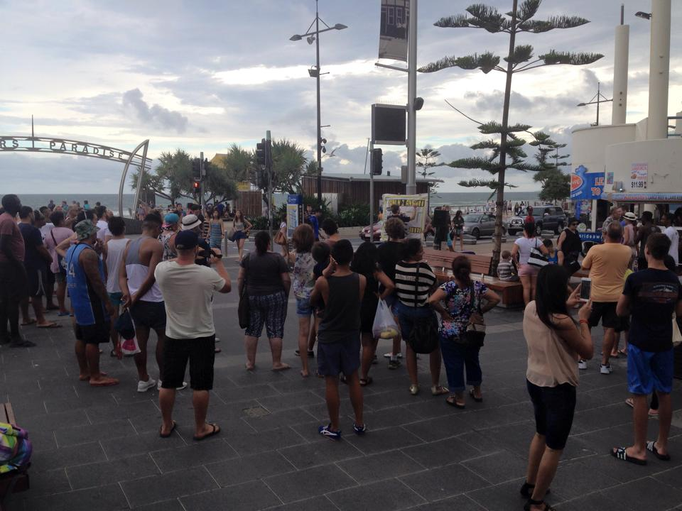 Open air preaching at the Gold Coast
