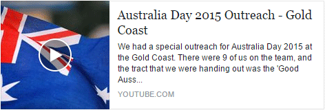 Australia Day 2015 Outreach
