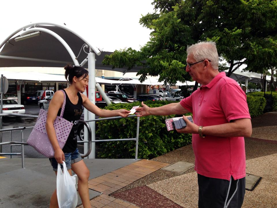 Handing out gospel tracts Australia